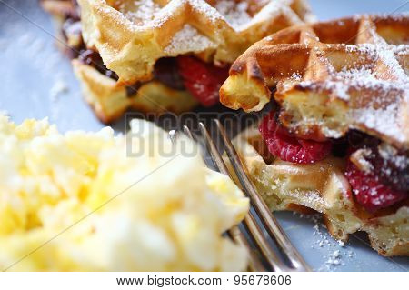 Belgian waffles with fruit