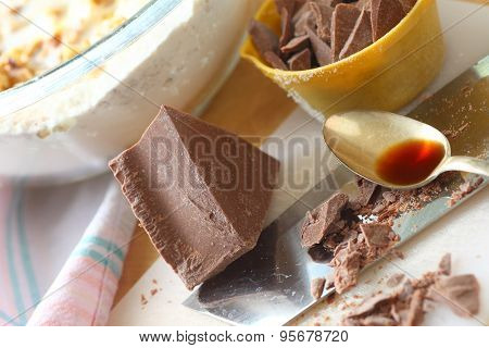 Chopped chocolate and tablespoon of vanilla
