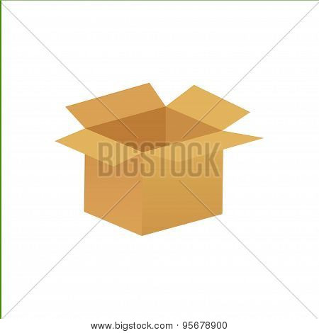 empty cardboard box opened isolated on white background - eps10 vector illustration