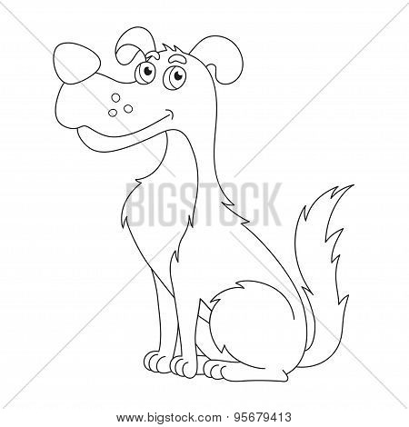 Cute sly dog, coloring book page for children