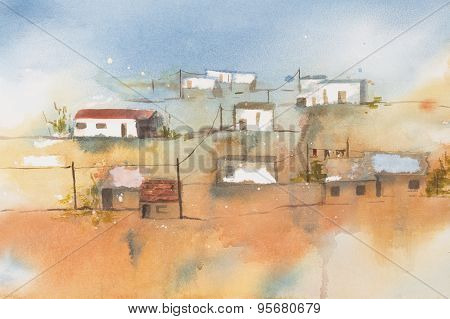 Original watercolour, African Village.