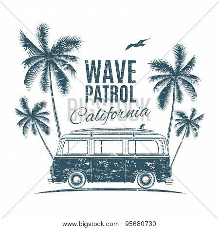 Retro surf van with palms and a seagull.