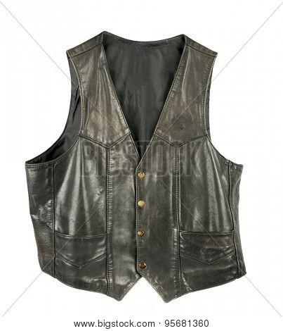 Leather biker jacket vest buttoned