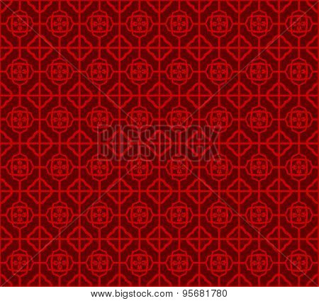 Seamless Vintage Chinese window tracery square flower pattern background.