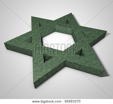 Stylized Image Star Of David Made Of Stone Malachite