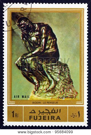 Postage Stamp Fujeira 1972 The Thinker,  By Auguste Rodin