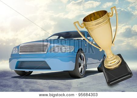 Blue car and gold top honour