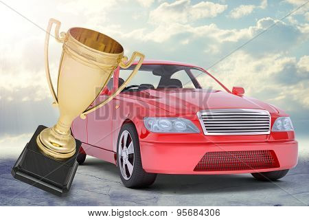 Red car and gold Cup