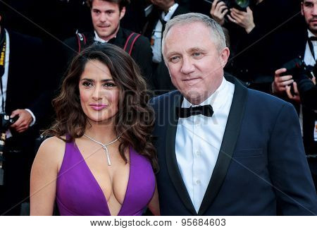Salma Hayek and Francois Henri Pinault attend the 'Carol' premiere during the 68th annual Cannes Film Festival on May 17, 2015 in Cannes, France.