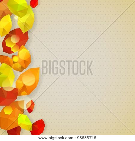 Autumn Background With Leaves In Low-poly Triangular Style