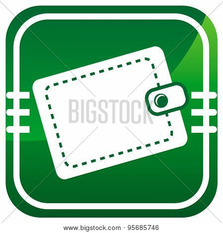 Purse. Single Green Icon.