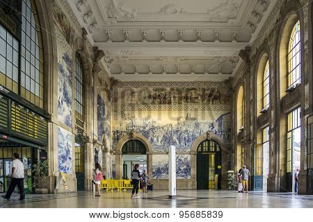 Porto, Portugal - July 04, 2015: Azulejos Panel On Inside of Sao Bento Railway Station