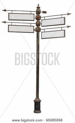 Signpost with several pointers on white background