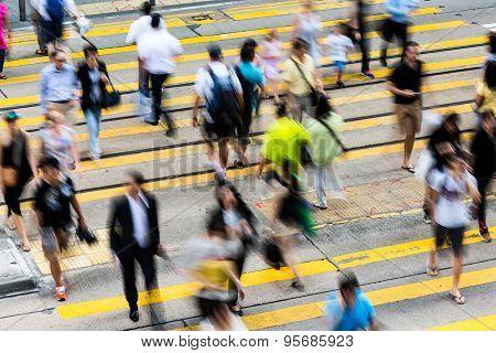 Bokeh view of Hong Kong Busy street