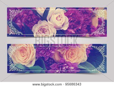 Flowers banners with flourishes calligraphic elegant ornamental frames - vector illustration