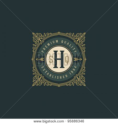 Vintage monogram logo template with flourishes calligraphic elegant ornament elements. Identity design with letter for cafe, shop, store, restaurant, boutique, hotel, heraldic, fashion and etc.