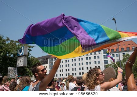 Munich, Germany - 11 July 2015: Christopher Street Day - Parade And Rainbow Flag