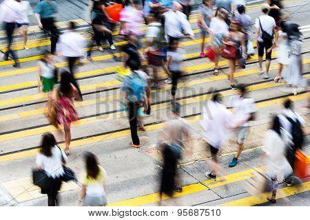 Blur view of Hong Kong Busy street