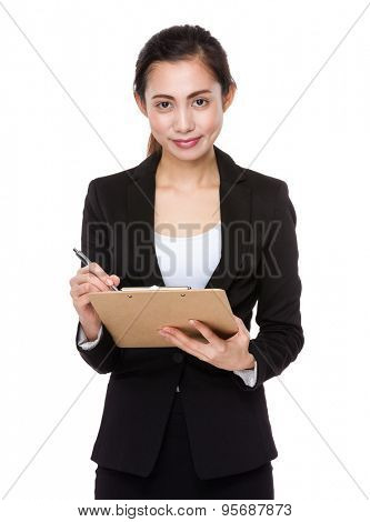 Young businesswoman chat on the clipboard