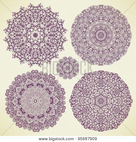 Set of round floral designs, vector