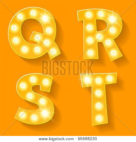 Vector yellow lamp alphabet for theatre, cinema and other entertainment. Letters Q R S T