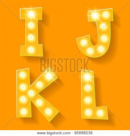Vector yellow lamp alphabet for theatre, cinema and other entertainment. Letters I J K L