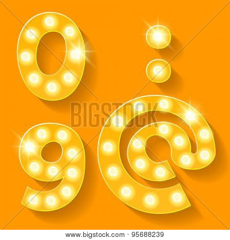 Vector yellow lamp alphabet for theatre, cinema and other entertainment. Numbers 9 0 and symbols