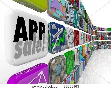 App Sale words on application tile to illustrate a special offer or discount on programs, software or mobile downloads