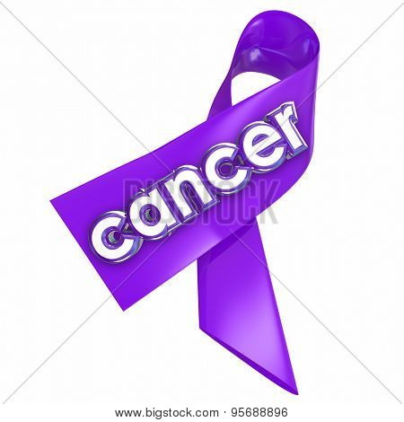 Cancer word on a ribbon for awareness, hope, medical research fundraising and finding a cure to the deadly disease