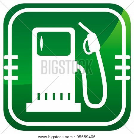 Fuel. Green Icon. Vector Illustration.