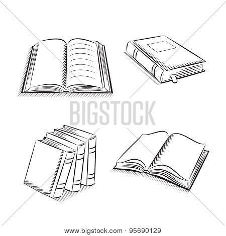 Books Sketch Icons Set