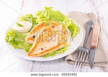 roasted chicken breast and salad