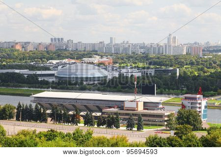 Landscape with the image of Moscow district Krylatsky hills and the Olimpic rowing canal
