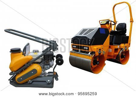 The image of a road machines under the white background