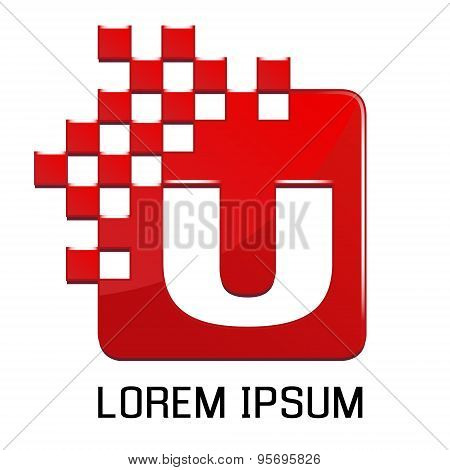 Logo template, vector, digital stylized U