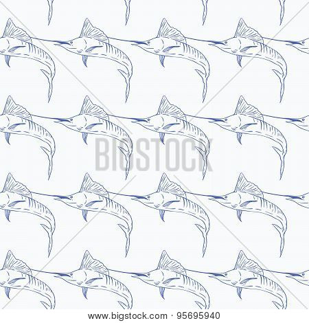 Swordfish seamless vector pattern on white background