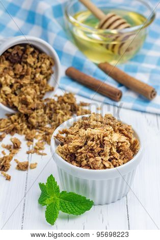 Homemade Honey Cinnamon Granola In A Bowl