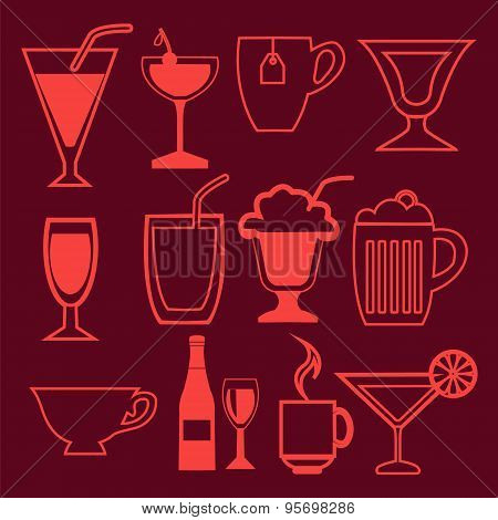 Bar And Drinks Icons Set In Linear Style