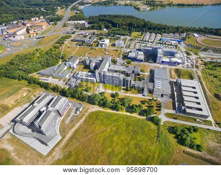 PILSEN CZECH REPUBLIC - JULY 11, 2015: Aerial view University of The West Bohemia in Pilsen has nine faculties with more than 60 departments and two institutes of higher education for 14,000 students