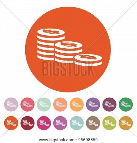 The Stack Of Coins Icon. Dollar, Money, Coin, Bank  Symbol. Flat