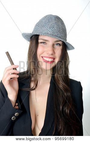 Smiling Girl With Cigar