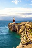 picture of gibraltar  - Lighthouse of Europa Point in Gibraltar and sea mediterranean - JPG