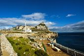 stock photo of gibraltar  - Ibrahim al Ibrahim Mosque at Europa Point Gibraltar Rock - JPG