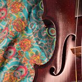 picture of dark side  - Extreme closeup of violin side against a happy colorful printed fabric.Violin is an antique from the early 1800