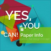 image of slogan  - Flat design square banner with slogan - JPG