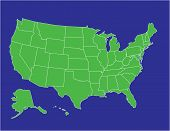 picture of united states map  - a basic map of the united states of america in green on a blue background - JPG