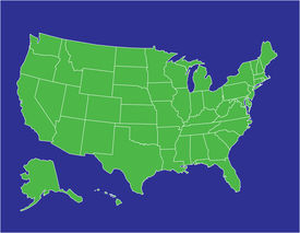 pic of usa map  - a basic map of the united states of america in green on a blue background - JPG