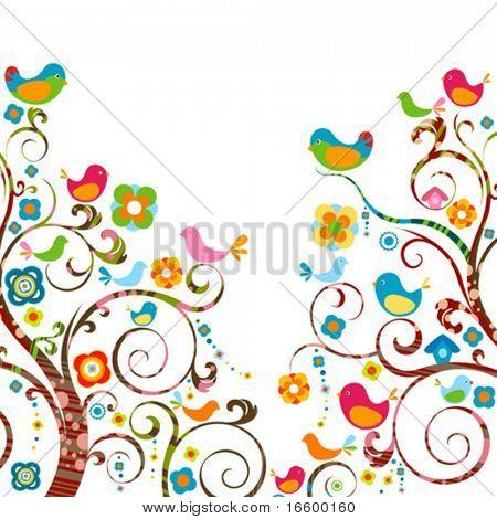 beautiful tree with little cute birds