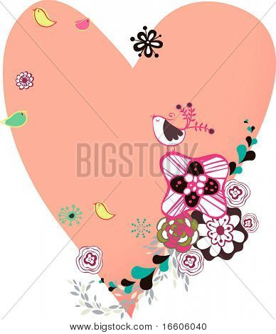 heart shape flora design wallpaper