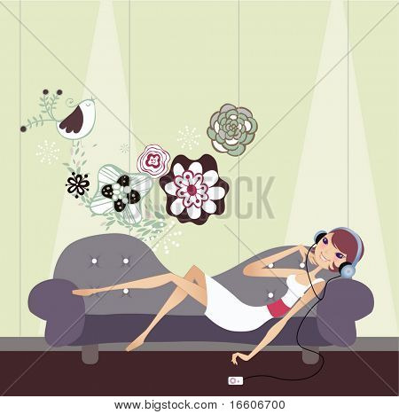 pretty girl lying on sofa and listening to music